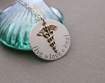 live love heal necklace - sterling silver with bronze gold Caduceus charm - mixed metal - Nurse gift - Medical Professional gift - Nursing