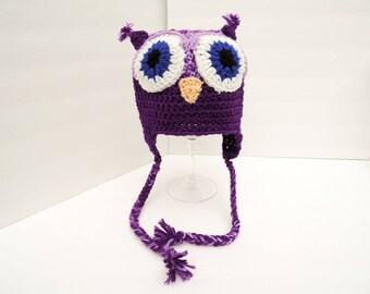Owl Hat, Little Hoot, Youth Size Purple