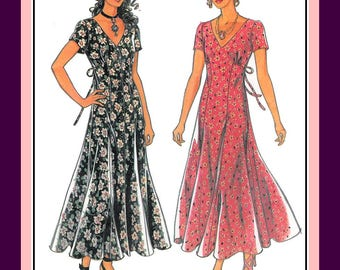 Vintage 1994-ROMANTIC FROCK-Sewing Pattern-Two Styles-Empire Waist-Low V Neckline, Flowing Panel Skirt-Short Sleeves-Uncut-Size 6-18-Rare