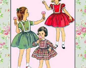 Vintage 1951-DARLING TWIRL DRESS-Sewing Pattern-Three Styles-Shaped Bodice-Rick-Rack-lace Trims-Cherry Transfer Embroidery-Size 2-Rare