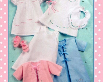 1950s- BABIES LAYETTE COLLECTION-Sewing Pattern-Seven Style-Bonnet-Gown-Lacket-Bib-Booties-Dress- Embroidery Detail-Lace Trim-Uncut-Rare