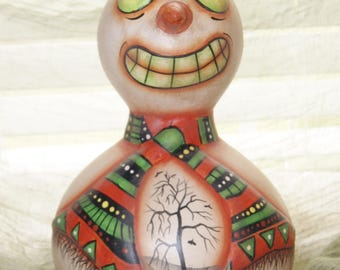 SALE, Folk Art Snowman Halloween Ghost Gourd, Haunted Forest House , Hand Painted, Home Grown Gourd