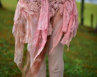 Nuno Felted Vintage Belt-Lace Skirt-Doily Tattered Fairy Pixie Belt- Wedding Skirt-Fairy Belt-Fantasy Costume-Vintage Doily Belt OOAK