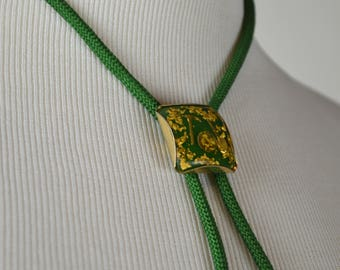 Vintage Bolo, 1950s Bolos, Men's Bolos, Gold Rush Bolo, Lucite Bolo, Green & Gold, Western Bolo, 50s Bolos, Gift for Him,