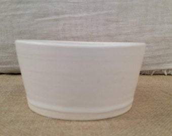 Ceramic Cat or Small Dog Water or Food Bowl: Handmade Pottery, White Matte Glaze, White Clay Body