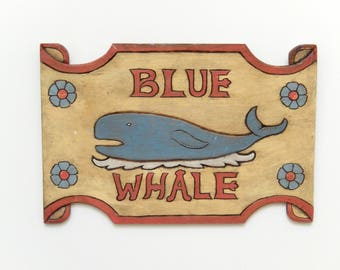 Blue Whale sign, wall plaque, hand crafted, wooden sign, wall decor, home decor, nautical