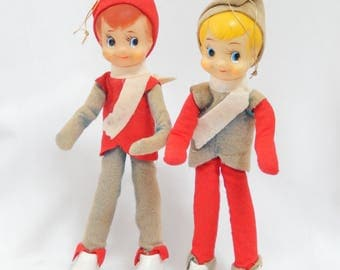 "large pixie figurines, pair, 8"" tall, standing or sitting, Japan, vintage Christmas decor"