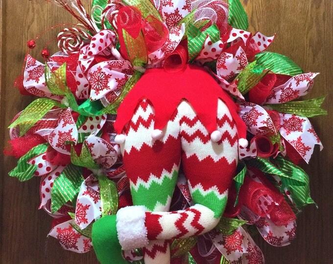 SALE- Elf Butt Bottom Candy Cane Christmas - Welcome Door Wreath!