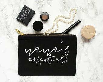 mom life - mom gift mamas essentials pouch makeup bag cosmetic bag gift for her new mom to be mama bear mom bag
