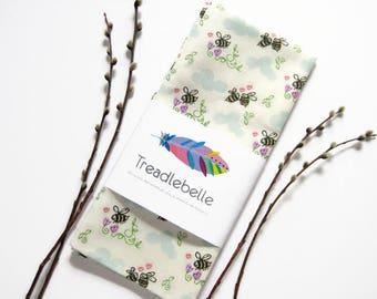 Happy Bees Tea Towel ~ Bee Dance ~ Dish Towel ~ Kitchen Decor ~ Cup Towel ~ Bumble Bee ~ Nature ~ Illustration ~ Hearts ~ Flowers ~ Under 20