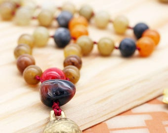 Grounding and protection (unisex) necklace - agate, carnelian, quartzite, howlite and bell