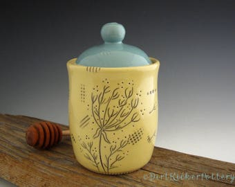 Honey Pot in Yellow and Turquoise with Dandelion Illustration - Pottery Honey Jar -by DirtKicker Pottery