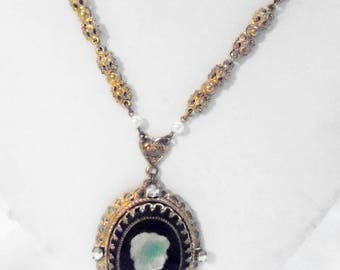 Vintage Cameo Pendant, Green Glass, AB Rhinestones & Faux Pearls W Germany