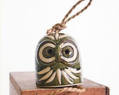Vintage Ceramic Owl Garden Chime / Hanging Owl Bell / Boho Decor