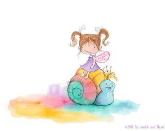 A Rainbow In the Garden - Fairy with Auburn Hair Riding a Snail - Art Print