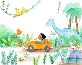 Dinosaur Drive - African American Boy Driving Car - Art Print - Children