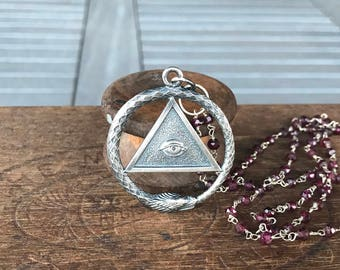 Solid Silver Ouroboros and Sacred Eye Pendant Necklace with Garnet Chain