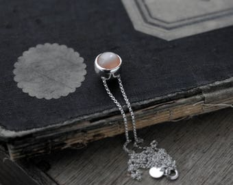 Rolling ball Peach Moonstone silver necklace