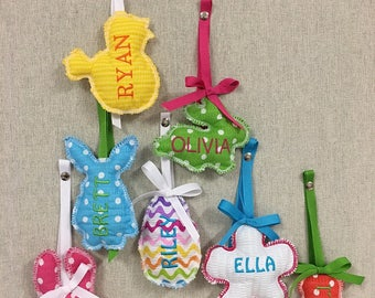 Easter Basket Name Tag Personalized Embroidered Bunny Rabbit Chick Egg Carrot