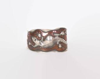Vintage Sterling LIZARD Bracelet / Silver & Copper Signed Numbered Native Cuff