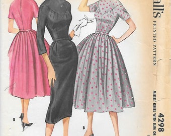 McCalls 4298 UNCUT 1950s Fitted Bodice with Unique Neckline and Two Skirts Vintage Sewing Pattern Bust 34 Wiggle Skirt Full Skirt