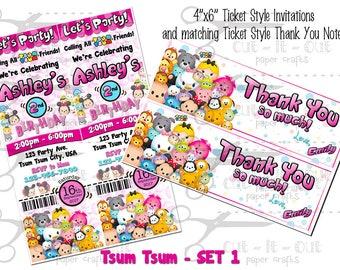 Tsum Tsum Birthday, Disney Tsum Tsum Invitation, Custom Birthday Invitation, Tsum Tsum Party, Tsum Tsum Ticket Invite