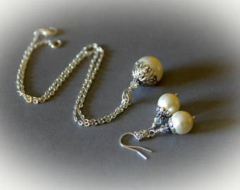 Bridal Jewelry Set - Swarovski Crystal Cream Pearl Pendant & Matching Earrings.