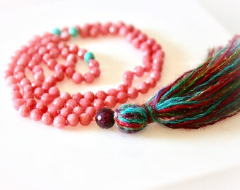 Pink Jade & Garnet Mala Necklace. 108 Beads. Multi-Color Tassel. Bohemian Necklace. Meditation Beads. Boho Jewelry. Yoga Jewelry.