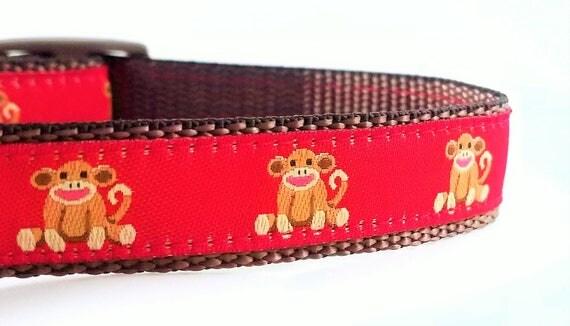 Sock Monkey - Dog Collar / Adjustable / Teacup / Small Dog Collar / Sock Monkey / Dog Collar / Tiny Dog Collar / Dog Lover / Gift Idea