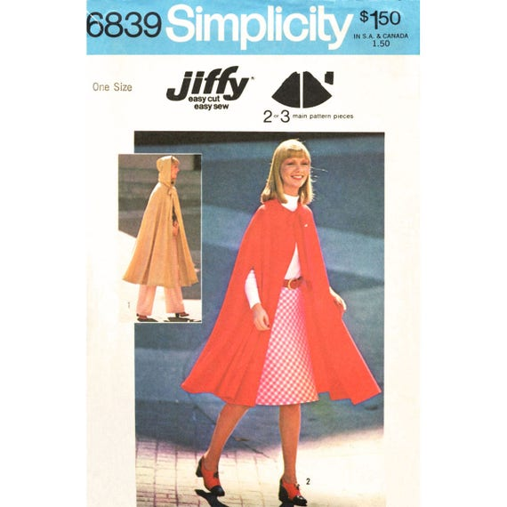 Hooded Cape Sewing Pattern Simplicity 6839 Unlined Long Cloak Arm Openings Womens One Size