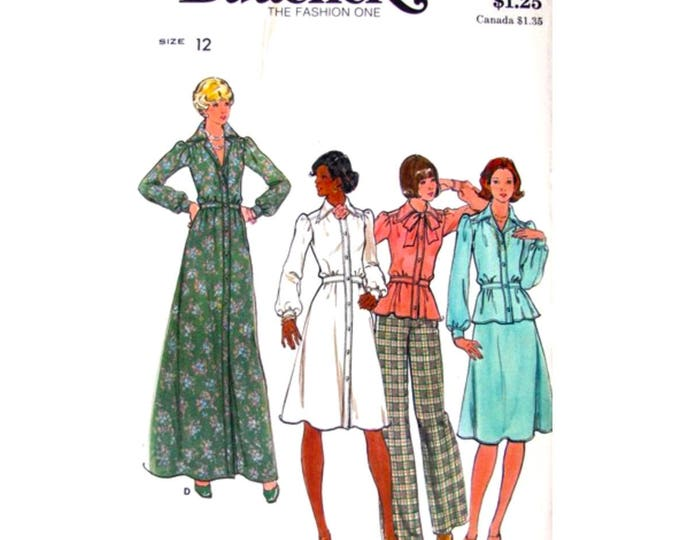 70s Maxi Shirt Dress, Top, Skirt, Pants Sewing Pattern Butterick 4028 Trousers Size 12