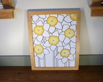 Framed Original Daffodils Drawing