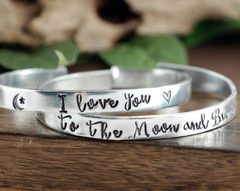 I Love you to the Moon and Back Bracelet Set, Moon and Back Jewelry, Mother Daughter Bracelet Set, Gift for Mom from Daugther, BFF Bracelets