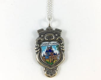 Disneyland Necklace, Disney Castle Necklace, Disney Castle Charm, Disney Souvenir, Disney Necklace, Spoon necklace, Spoon Jewelry