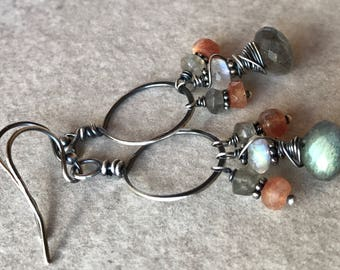 Labradorite Cluster Earrings, Moonstone Earrings, Sunstone Earrings, Hammered Hoop Earrings, Feldspar Earrings, Multi Gem Earrings