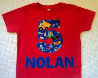 Construction Birthday Shirt- Construction Shirt - Lego Inspired Birthday Shirt- Two Year Old shirt- Transportation Shirt- Name Shirt