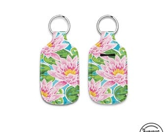 Lilly PInk Flower Neoprene Lip Balm Keychain Key Chain Holder Carry Case