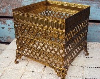 Vintage Ormolu Tissue Box Holder Filigree Metal Vanity Container Hollywood Regency Baroque French Victorian Mid Century Antique Gold