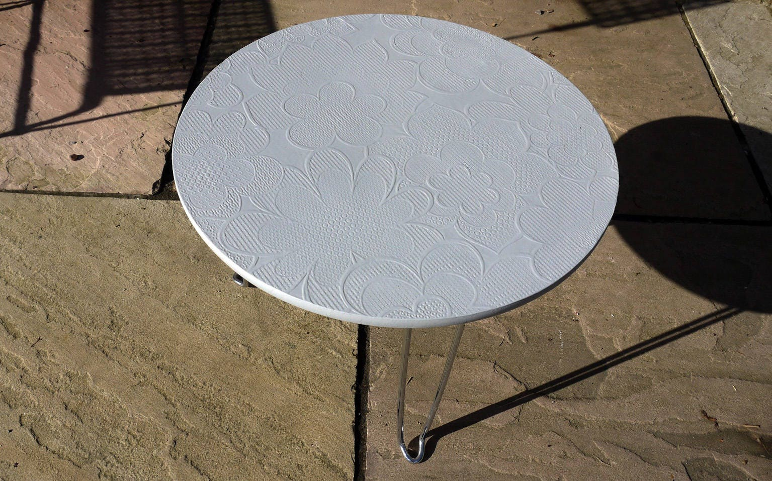Upcycled round coffee side table with original 70's