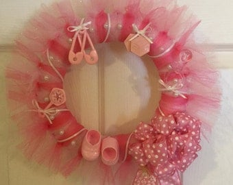 pink tulle wreath, baby girl baby shower wreath