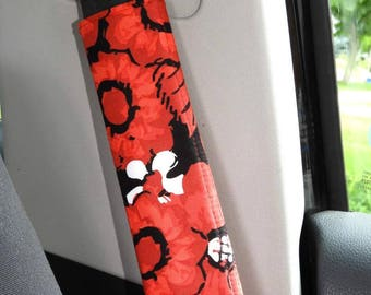 Padded Seat Belt Covers, Pair, Reversible, Red Black and White Floral with Stripe