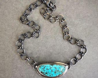 Campitos Turquoise with Pyrite & Oxidized Sterling Silver Choker Necklace
