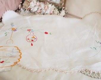 vintage shabby doily, chinese lantern, birds flowers, unusual cut out lantern, large floral doily
