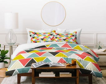 Geometric Duvet Cover // Twin, Queen, King Sizes // Modern Home Decor // Bedding // Triangulum Design // Bedding // Bold Color // Triangles