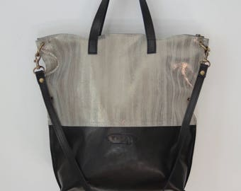 Nana two-toned silver and black leather convertible tote