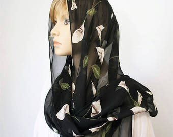 Calla Lily Scarf Vintage Black Long Wrap Rectangle Scarf Elegant Neck Scarf Head Scarf