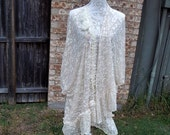 Altered Women's Lacy Crocheted Top, Altered Couture, Maglonia Pearl Style, Lace Bottom Shabby Chic,Romantic Jacket,Cre Jacket,Plus size