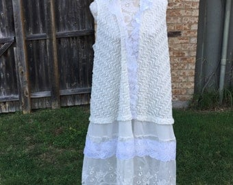 Altered Women's Crocheted Top, White  Lacy Long Jacket, Magnolia Style,  Large ,Lace Bottom, Shabby Chic, Romantic, Lagenlook, Ruffled Vest