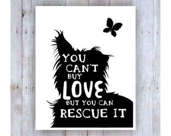 Dog Rescue Art, Black and White, Rescue Quote, Pet Rescue, Dog Adoption, Pet Adoption, Dog Decor, Dog Wall Decor, Dog Silhouette, Dog Phrase