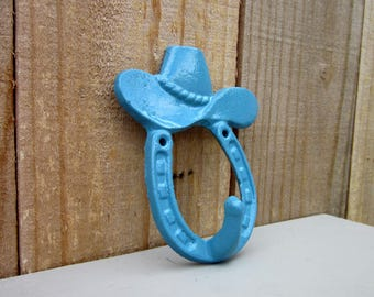Cowboy Hat Hook, Horseshoe Hook, Cast Iron, Blue, Rustic, Western Decor, Cowboy, Childs Room, Western Theme, Kitchen Hook, Entryway Hook